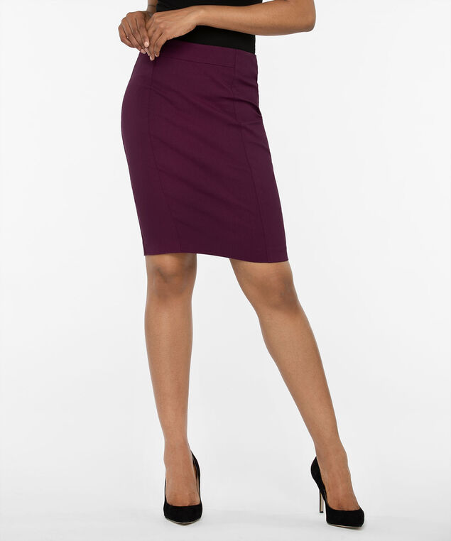 Microtwill Pull On Pencil Skirt, Plum, hi-res