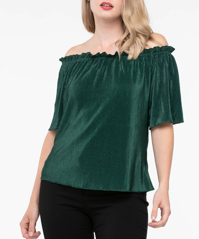Off-the-Shoulder Pleated Top, Ivy, hi-res