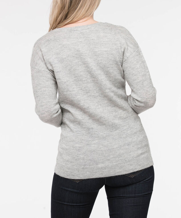 Cable Knit Scoop Neck Sweater, Light Heather Grey, hi-res