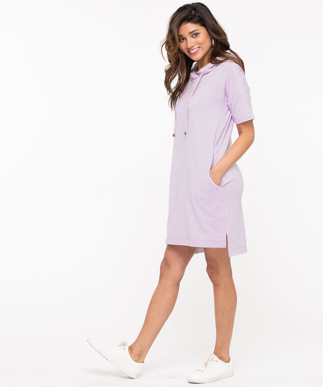 Hooded Drawstring T-Shirt Dress, Purple, hi-res