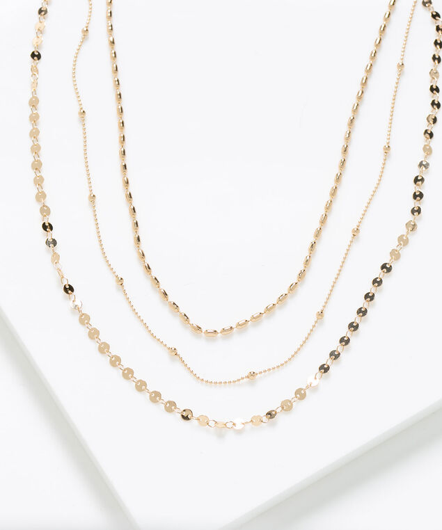 Delicate Gold Layered Necklace, Gold, hi-res