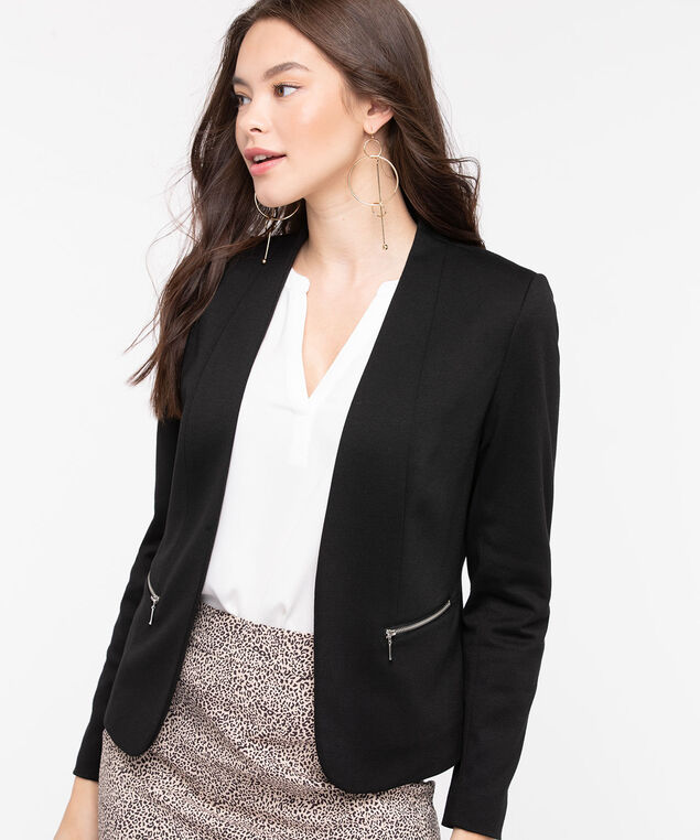 Ponte Zipper Pocket Open Blazer, Black, hi-res