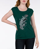 Feather Graphic Extended Sleeve Top, Ivy/Silver/Black, hi-res