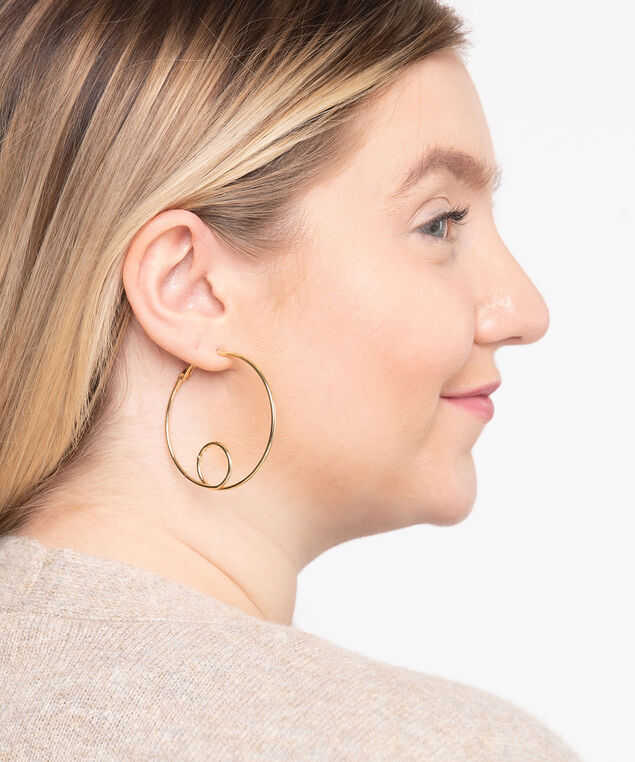 Gold Loop Hoop Earring, Gold