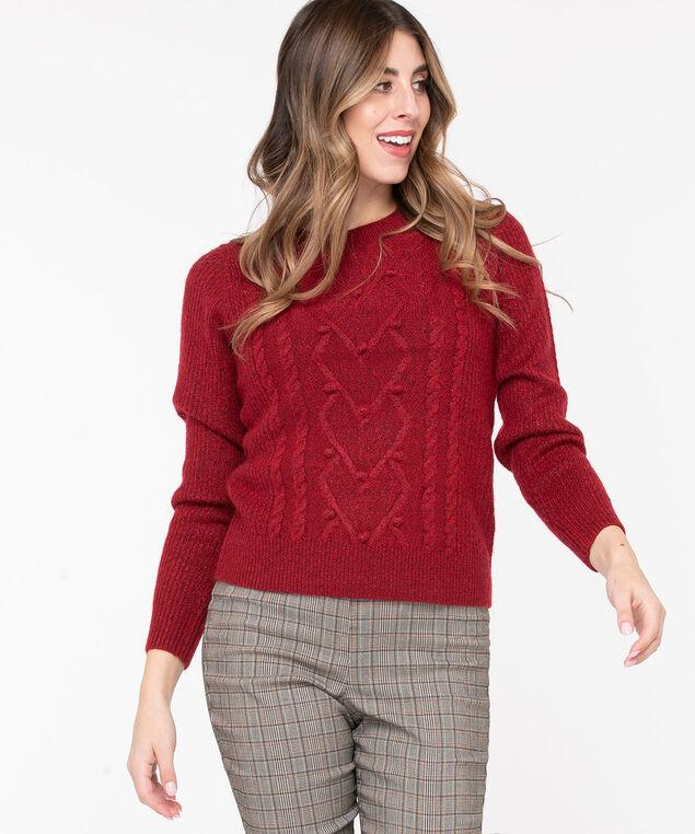 Pom Pom Cable Knit Pullover, Roasted Beet, hi-res