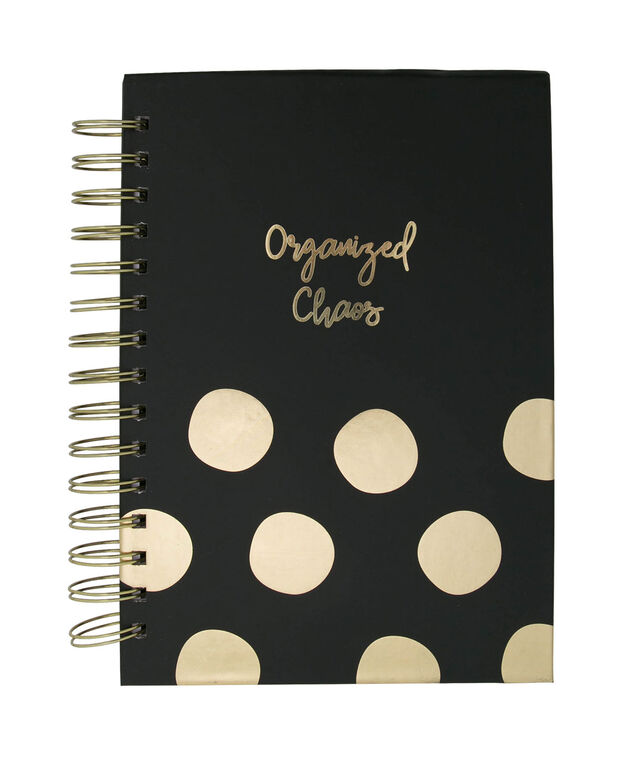 Organized Chaos Spiral Notebook, Black/Gold, hi-res
