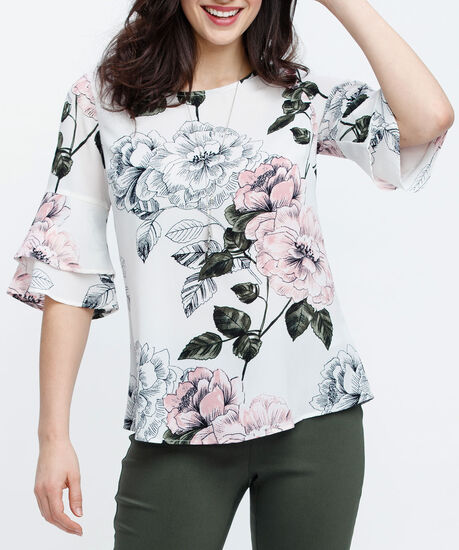 Double Flounce Sleeve Blouse, Pearl/Pink/Green, hi-res