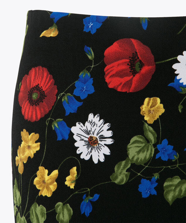 Floral Knit Pencil Skirt, Black/Red/Blue/Yellow, hi-res