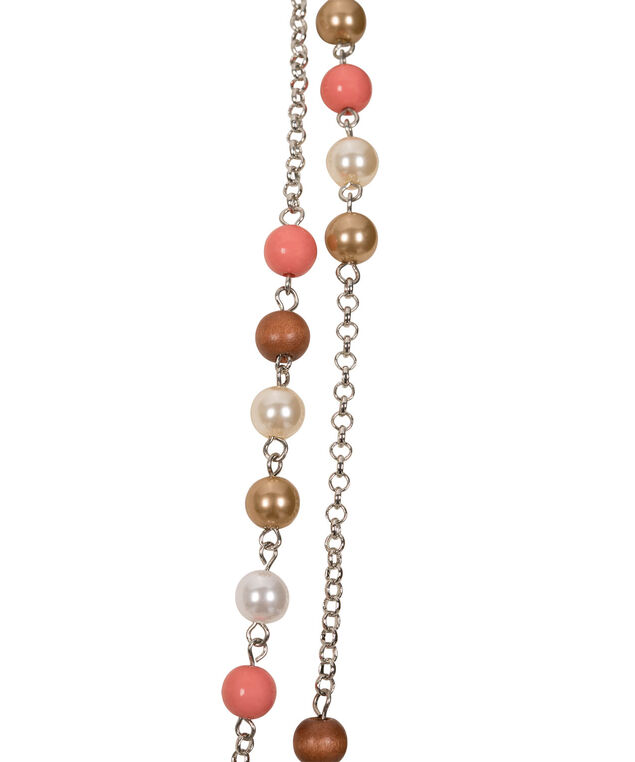 Stationed Mixed Bead Necklace, Coral/Brown/Rhodium, hi-res
