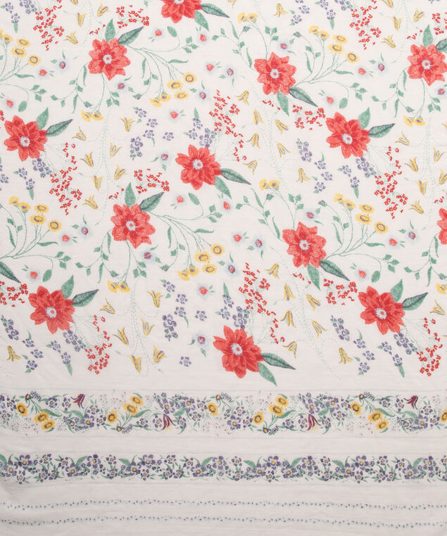 Floral Print Oblong Scarf, White/Pink/Yellow, hi-res