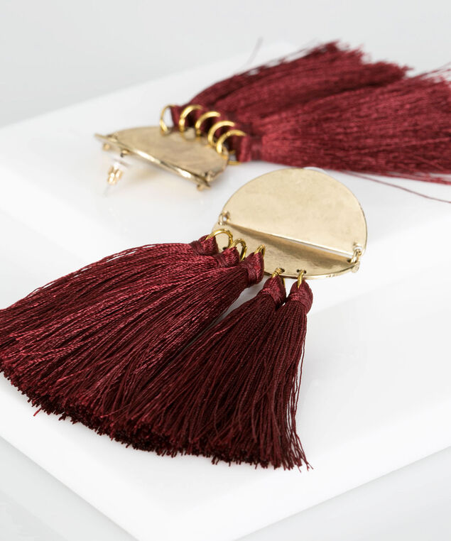 Brushed Metal Disc & Tassel Earring, Burgundy/Gold, hi-res