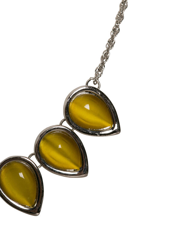 Cateye Teardrop Mini Statement Necklace, Yellow/Rhodium, hi-res