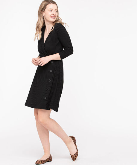 Ribbed Button Trim Wrap Dress, Black, hi-res