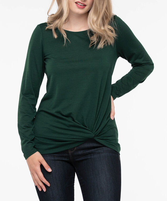 Long Sleeve Knot Front Top, Deep Green, hi-res