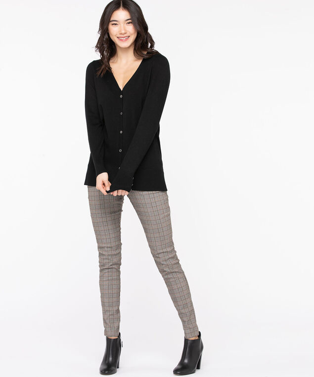 Button Front V-Neck Cardigan, Black