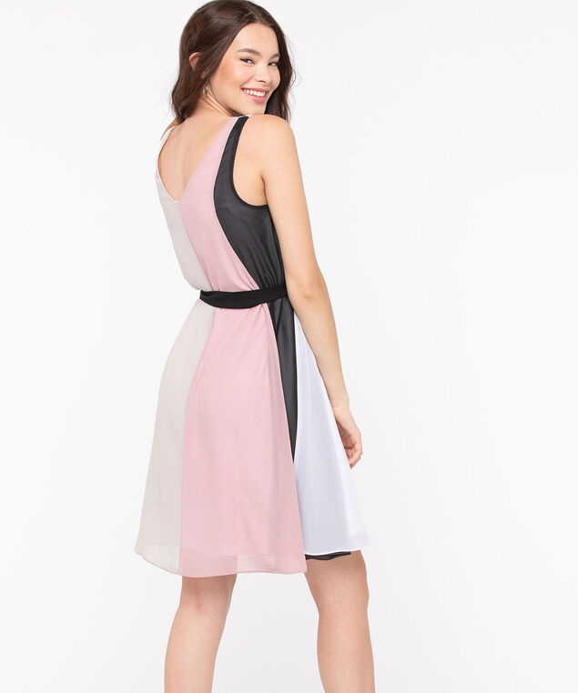 Color Block Tie Waist Aline Dress, Pink/Pearl/Black/Sand, hi-res
