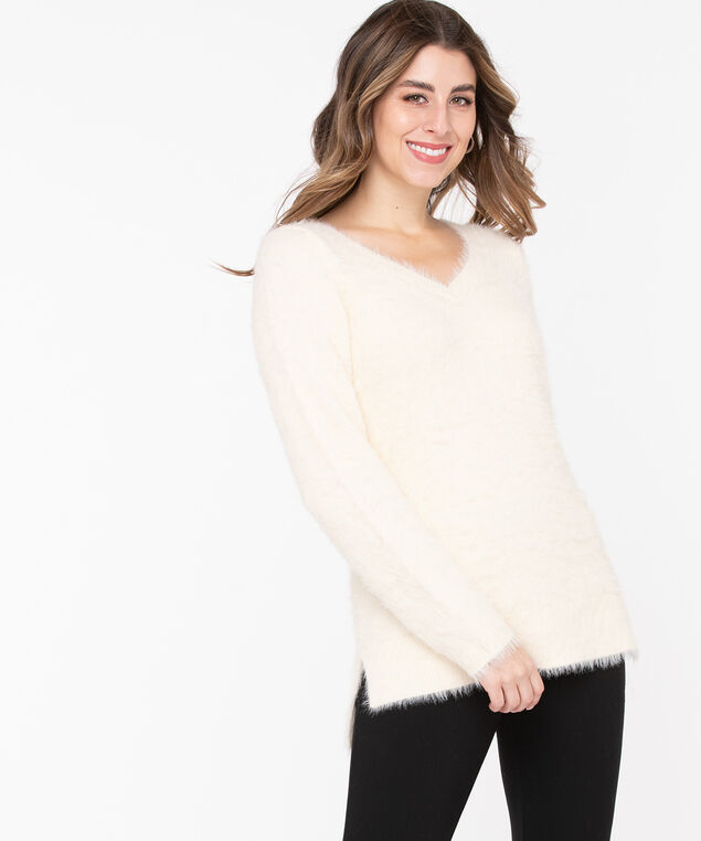 V-Neck Feather Yarn Pullover, Pristine, hi-res