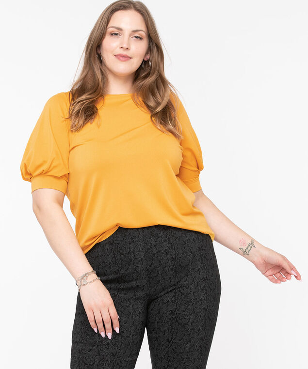 Balloon Sleeve Boat Neck Top, Gold, hi-res