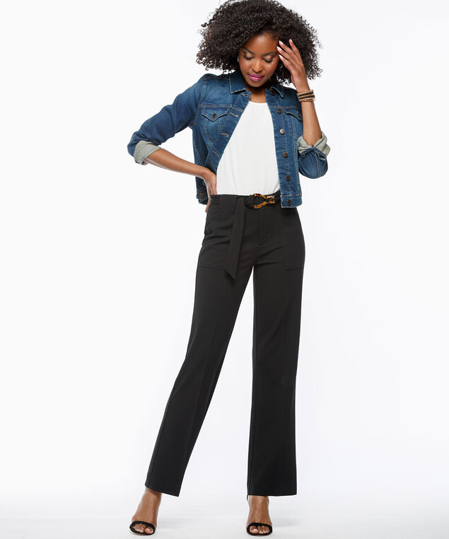 Belted Crepe Wide Leg Pant, Black, hi-res