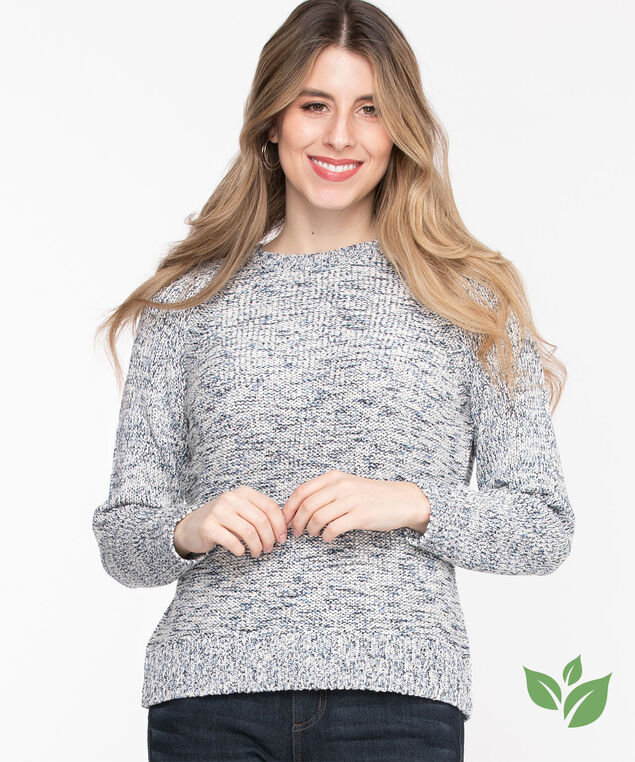 Eco-Friendly Yarn Raglan Sweater, Blue Denim Mix