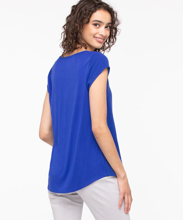 Mixed Media Pocket Front Top, Blue, hi-res