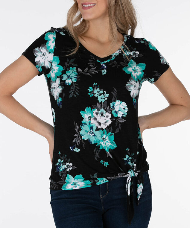 Tie-Front V-Neck Top, Black/Bright Aqua, hi-res