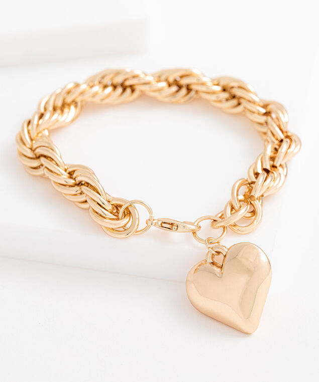 Heart Pendant Chain Bracelet, Gold, hi-res