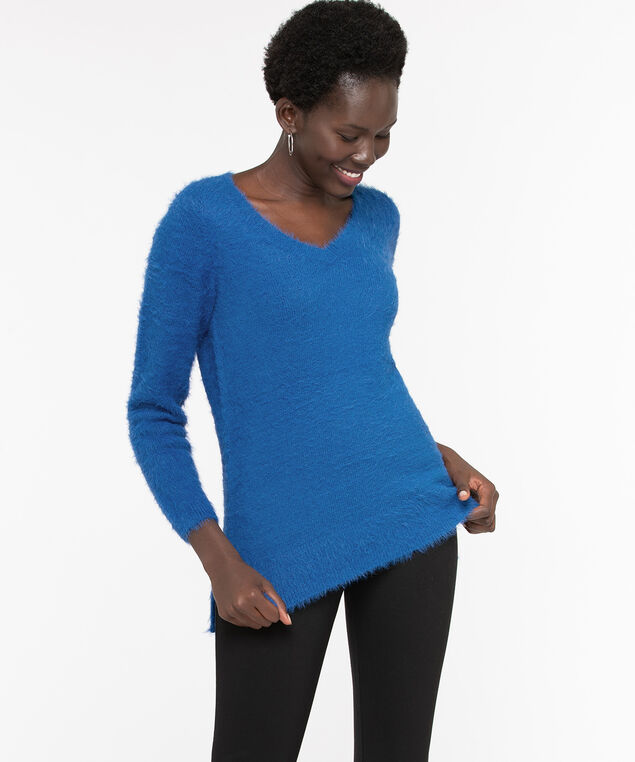 V-Neck Feather Yarn Pullover, Bijou Blue, hi-res