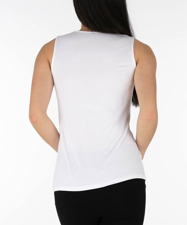 Sleeveless Tab Front Top, True White, hi-res