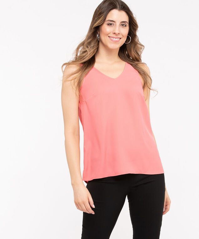 Double-V Woven Layering Cami, Peach, hi-res