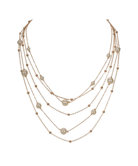 Stationed Pearl Multi-Strand Necklace, Ivory/Soft Rose Gold, hi-res