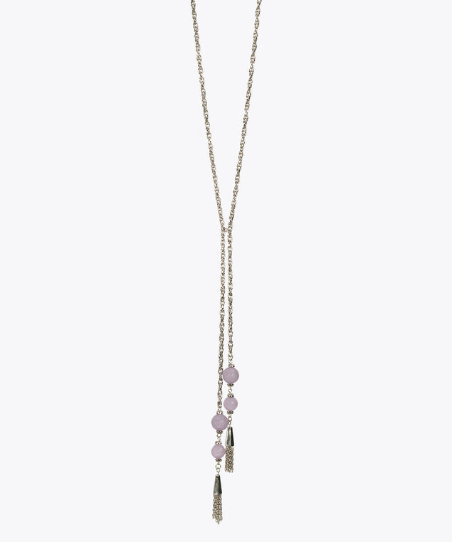Opaque Bead & Tassel Necklace, Iced Violet/Rhodium, hi-res