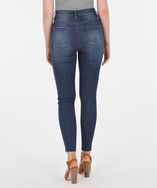 High Rise Button Fly Jegging, Dark Blue, hi-res