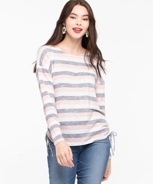 Side Ruched Soft Knit Top, Rose Petal/Pearl/Mid Heather Grey, hi-res