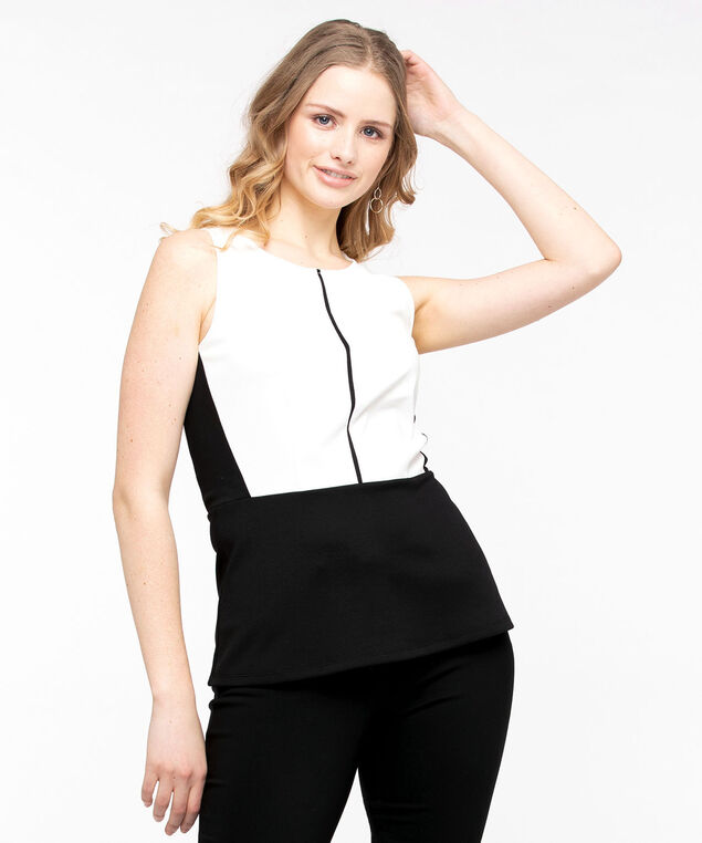 Sleeveless Ponte Peplum Hem Top, Pearl/Black, hi-res