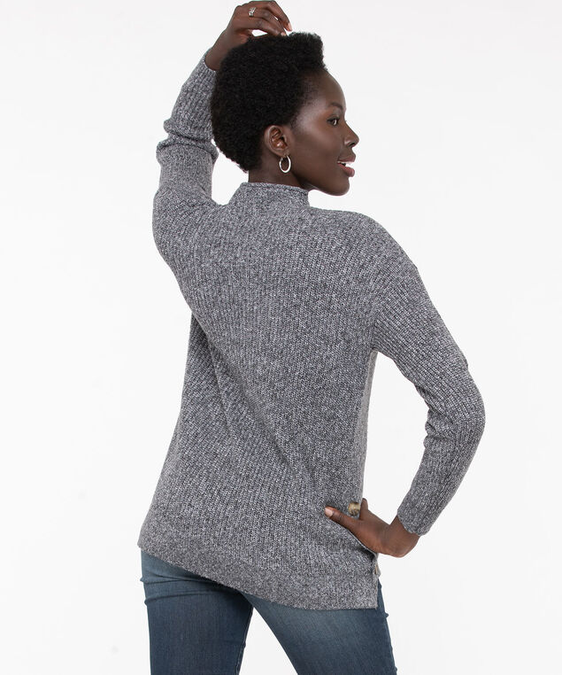 Eco-Friendly Mock Neck Sweater, Black Mix, hi-res