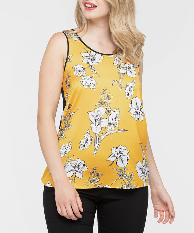 Sleeveless Mixed Media Top, Mustard/Black/Pearl, hi-res