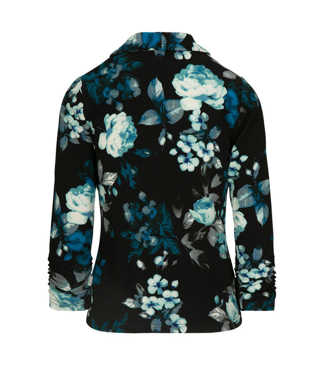 Floral Button Front Blazer, Black/Teal/Mint/Pearl, hi-res