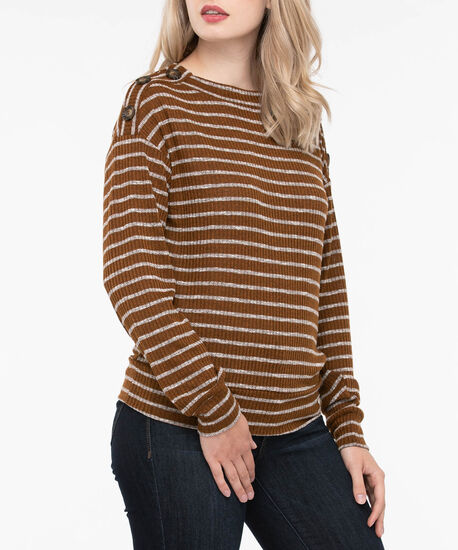 Mock Neck Button Trim Top, Brown/Light Heather Grey, hi-res