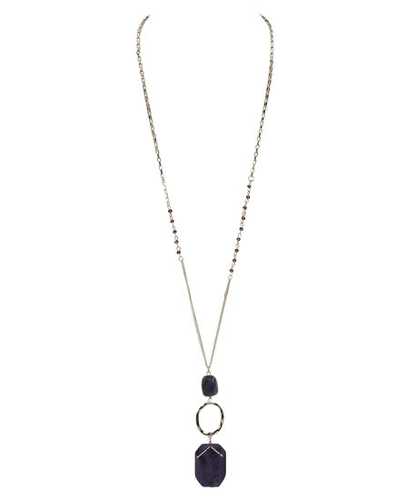 Hammered O-Ring & Stone Necklace, Deep Purple/Rhodium, hi-res