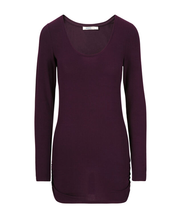 Ruched Layering Essential Top, Blackberry, hi-res