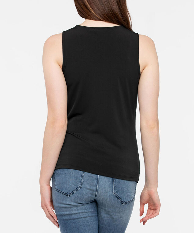 Sleeveless Tiered Keyhole Top, Black, hi-res