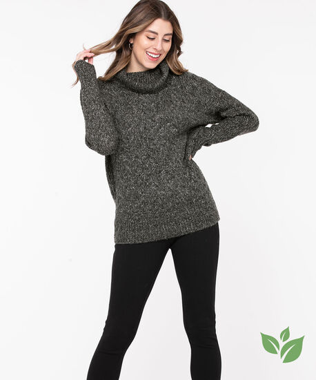 Eco-Friendly Cable Knit Sweater, Charcoal Mix, hi-res