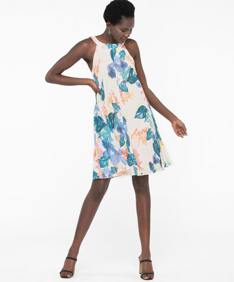 Floral Pleated Trapeze Dress, Pearl/Pink/Teal/Blue, hi-res