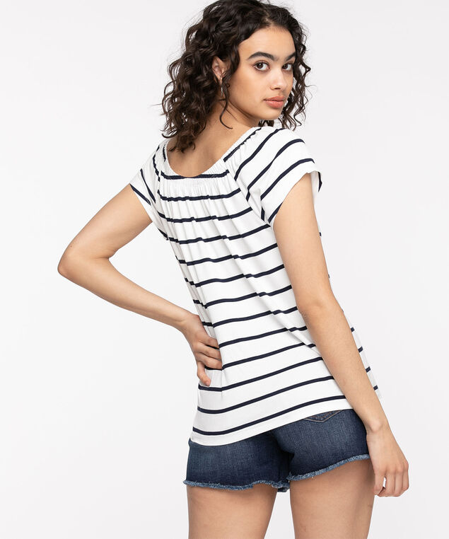 EcoVero™ On/Off Shoulder Top, White/Navy Stripe