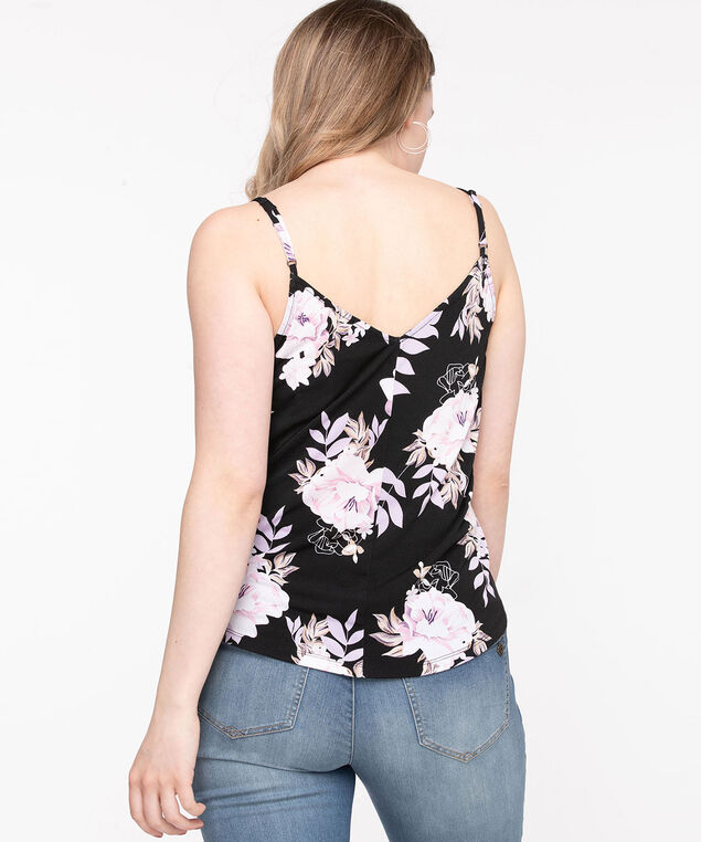 Sleeveless Double-V Button Top, Black/Orchid Floral