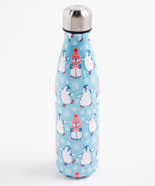 Patterned Insulated Water Bottle, Blue Penguins
