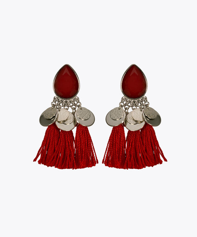Faceted Stone Teardrop Tassel Earring, Poppy/Rhodium, hi-res
