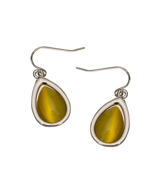 Cateye Teardrop Earring, Yellow/Rhodium, hi-res