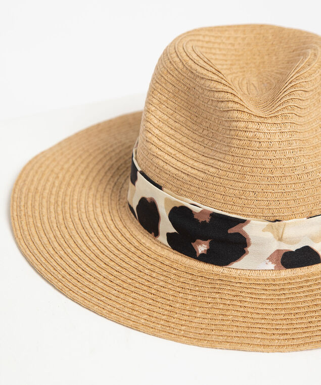 Leopard Ribbon Panama Hat, Natural/Black, hi-res